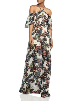 BCBGMAXAZRIA Off-the-Shoulder Printed Halter Gown