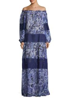 BCBGMAXAZRIA Off-the-Shoulder Silk Maxi Dress