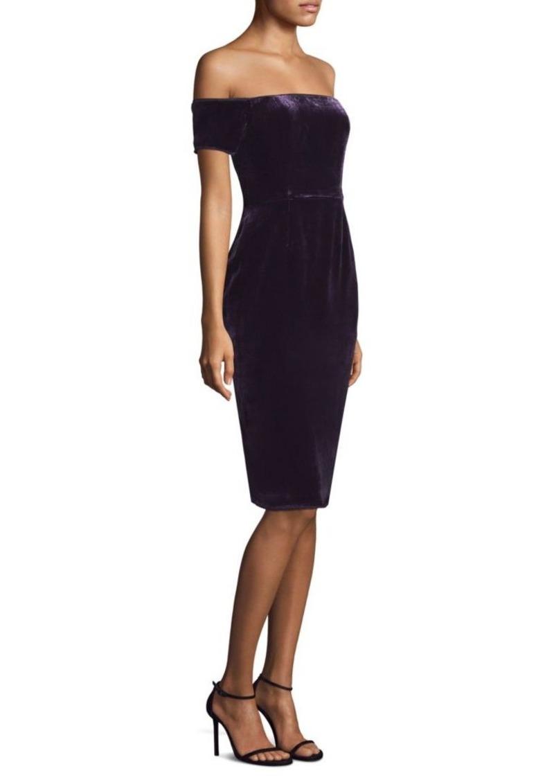 BCBG Max Azria Off-The-Shoulder Velvet Sheath Dress