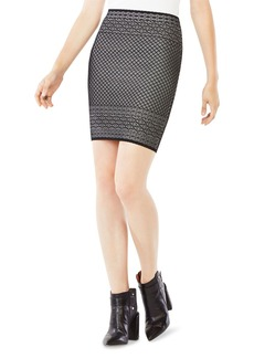 BCBGMAXAZRIA Pavel Geometric Pattern Pencil Skirt