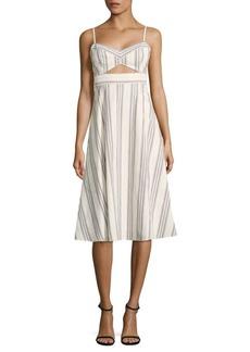 BCBG Max Azria Peek-A-Boo Striped Cutout Midi Dress