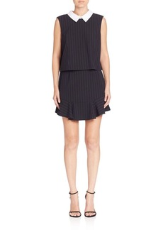 BCBGMAXAZRIA Pinstripe Collared Popover Dress