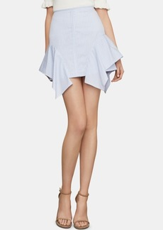 BCBG Max Azria Bcbgmaxazria Pinstriped Ruffled Mini Skirt