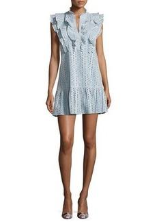 BCBGMAXAZRIA Placket Cotton Eyelet Dress