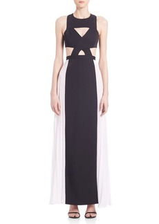BCBGMAXAZRIA Pleated Cutout Gown