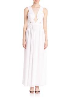 BCBGMAXAZRIA Pleated-Detail Gown