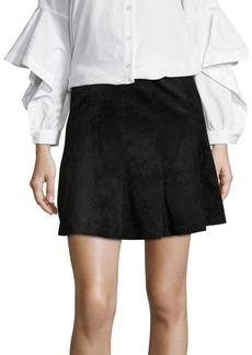 BCBGMAXAZRIA Pleated Faux Suede Mini Skirt