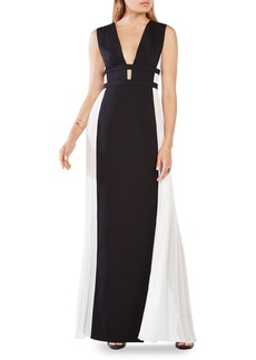 BCBGMAXAZRIA Pleated Panel Gown