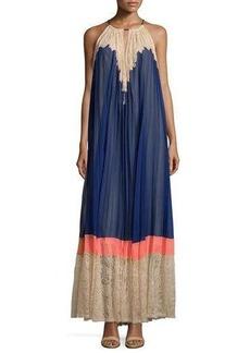 BCBG Max Azria BCBGMAXAZRIA Pleated Woven Halter Maxi Dress