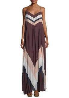 BCBG Max Azria BCBGMAXAZRIA Plisse Chevron Long Cocktail Dress