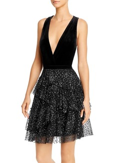 BCBG Max Azria BCBGMAXAZRIA Plunging Velvet and Metallic Dress