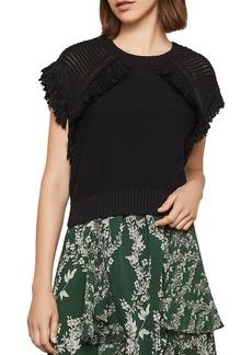 BCBG Max Azria BCBGMAXAZRIA Pointelle-Sleeve Fringed Sweater
