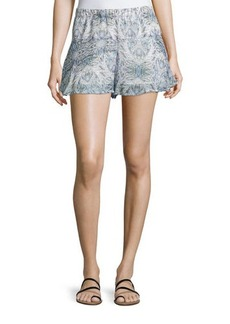 BCBGeneration Printed Ruffled-Hem Shorts