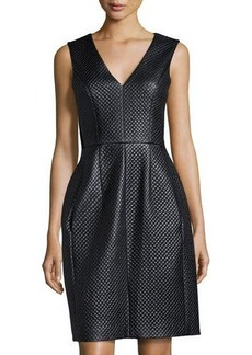 BCBGMAXAZRIA Quilted Faux-Leather Dress