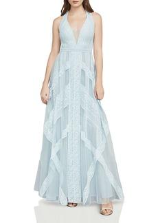 BCBG Max Azria BCBGMAXAZRIA Raissa Lace-Trim Tulle Gown
