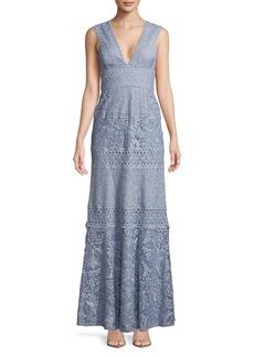 BCBG Max Azria BCBGMAXAZRIA Raymee Patchwork Lace Gown