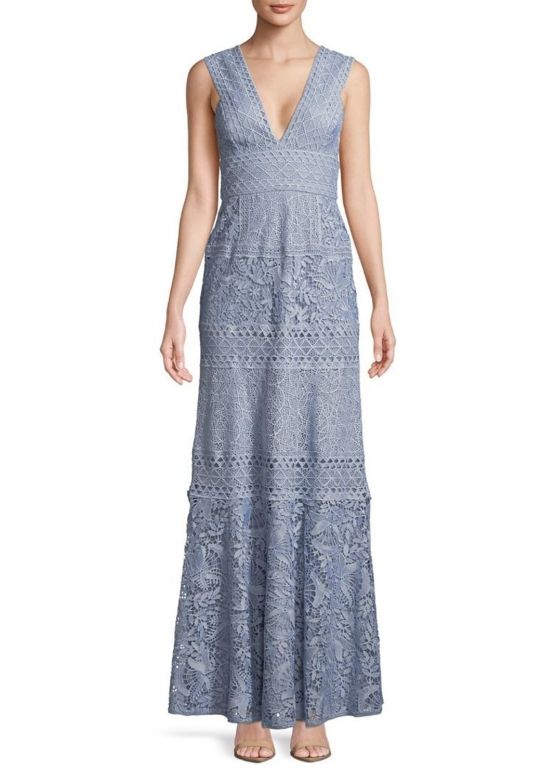BCBG Max Azria BCBGMAXAZRIA Raymee Patchwork Lace Gown   Dresses
