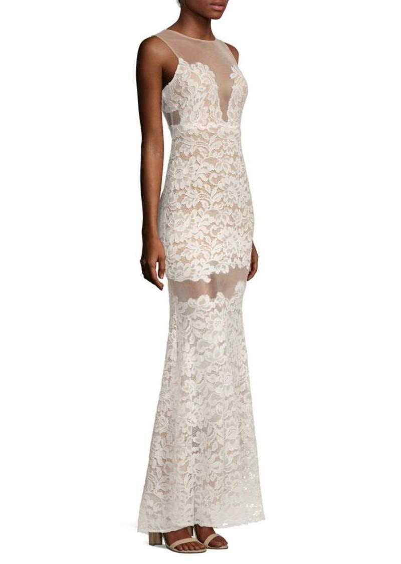 BCBG Max Azria BCBGMAXAZRIA Rayna Sleeveless Floral Lace Gown   Dresses