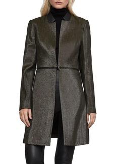 BCBG Max Azria BCBGMAXAZRIA Relaxed-Fit Faux Leather-Trim Convertible Coat