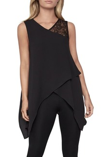 BCBG Max Azria BCBGMAXAZRIA Relaxed-Fit Lace-Trimmed Top