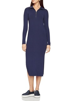 BCBGMAXAZRIA Rib Zip Neck Dress