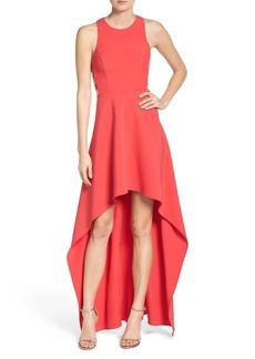 BCBGMAXAZRIA 'Rosalyn' Cutout High/Low Crepe Gown