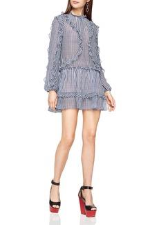 BCBGMAXAZRIA Rosemarie Silk Ruffle-Trim Dress