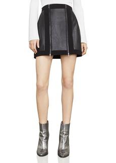BCBG Max Azria BCBGMAXAZRIA Roxy Faux-Leather Detail Mini Skirt