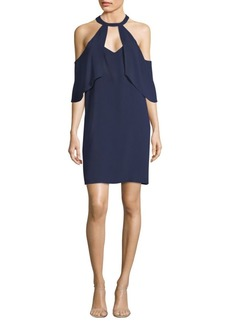 BCBG Max Azria Ruffle Cold Shoulder Shift Dress