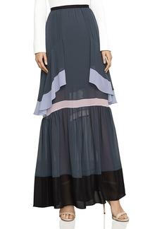 BCBG Max Azria BCBGMAXAZRIA Ruffled Color-Block Maxi Skirt