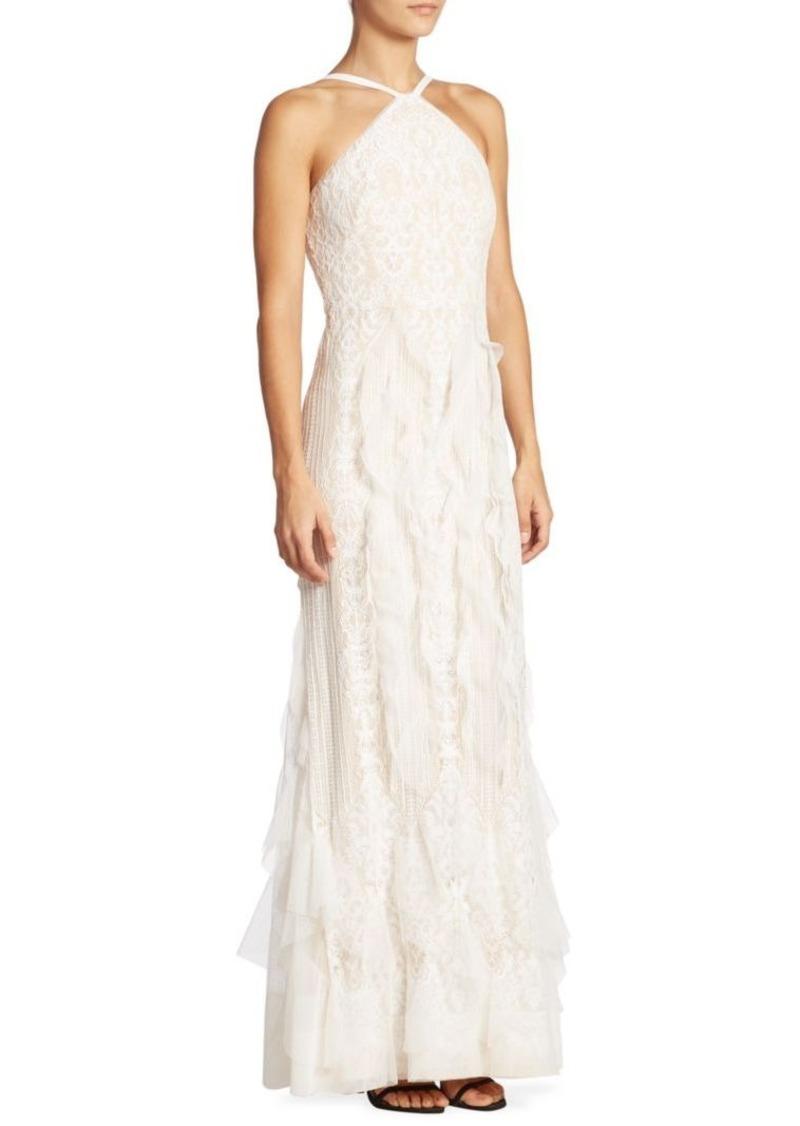 BCBG Max Azria BCBGMAXAZRIA Ruffled Lace Halter Gown | Dresses