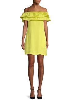 BCBGMAXAZRIA Ruffled Off-The-Shoulder Dress