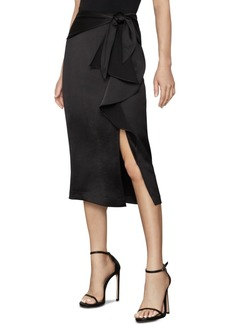 BCBG Max Azria Bcbgmaxazria Ruffled Satin Pencil Skirt