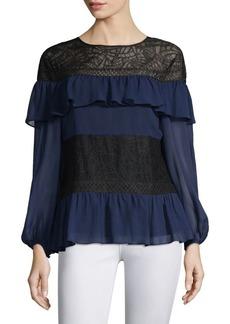 BCBG Max Azria Ruffles & Lace Silk Blouse