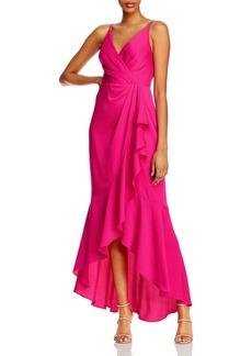 BCBG Max Azria BCBGMAXAZRIA Satin Faux-Wrap Gown