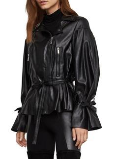 BCBG Max Azria BCBGMAXAZRIA Self-Tie Faux Leather Jacket