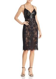 BCBGMAXAZRIA Sequin-Bodice Lace Dress