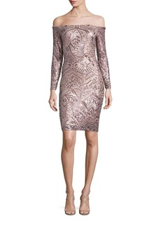 BCBG Max Azria BCBGMAXAZRIA Sequin Off-The-Shoulder Dress
