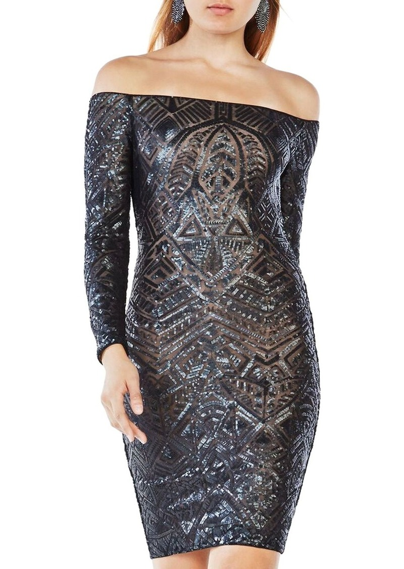 BCBG Max Azria BCBGMAXAZRIA Sequin Off-The-Shoulder Dress