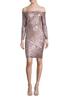 BCBGMAXAZRIA Sequin Off-The-Shoulder Dress