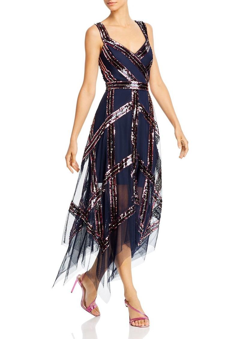 BCBG Max Azria BCBGMAXAZRIA Sequin Rainbow Stripe Gown