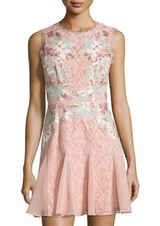 BCBGMAXAZRIA Sequined Lace Sheath Dress