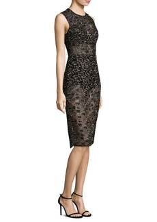 BCBG Max Azria Sheer Lace Knee-Length Dress