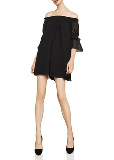 BCBG Max Azria BCBGMAXAZRIA Shirred Off-The-Shoulder Romper