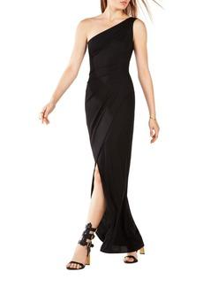 BCBGMAXAZRIA Shirred One-Shoulder Gown