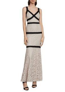 BCBG Max Azria BCBGMAXAZRIA Sleeveless Banded Lace Gown