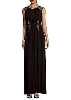 BCBGMAXAZRIA Sleeveless Cutout Back Jersey Gown