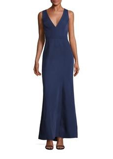 BCBGMAXAZRIA Sleeveless Cutout Crepe Gown