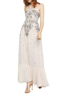 BCBG Max Azria BCBGMAXAZRIA Sleeveless Embroidered Halter Gown
