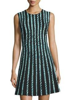 BCBGMAXAZRIA Sleeveless Graphic-Striped Dress